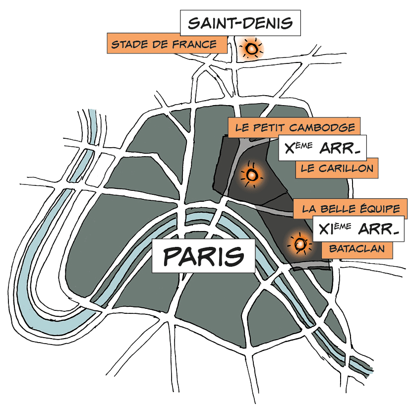Plan - Paris - lieux ciblés le 13 novembre